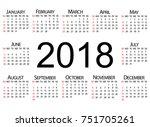 calendar 2018 | Shutterstock .eps vector #751705261