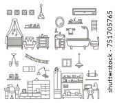set of four interior design in... | Shutterstock .eps vector #751705765