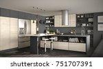 modern wooden kitchen with...   Shutterstock . vector #751707391