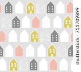 cute nordic pattern with houses ... | Shutterstock .eps vector #751709899