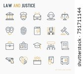 law and justice thin line icons ... | Shutterstock .eps vector #751711144
