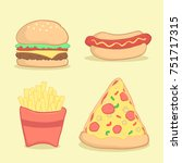 junk food fast food set vector... | Shutterstock .eps vector #751717315
