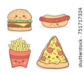 cute junkfood fastfood cartoon... | Shutterstock .eps vector #751717324