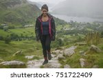 a young woman hiking in the... | Shutterstock . vector #751722409