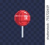 pixel art lollipop icon.... | Shutterstock .eps vector #751722619