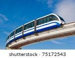 Monorail Fast Train On Railway...