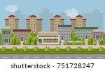 urban landscape cartoon...   Shutterstock .eps vector #751728247