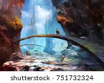 Painted Mountain Landscape With ...