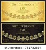 luxury gold and black gift... | Shutterstock .eps vector #751732894