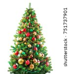 christmas tree isolated on... | Shutterstock . vector #751737901