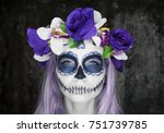 closeup face of woman with... | Shutterstock . vector #751739785