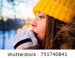 hipster girl in yellow cup... | Shutterstock . vector #751740841