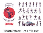 policeman character ready to... | Shutterstock .eps vector #751741159