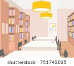 library interior with tables ... | Shutterstock .eps vector #751742035