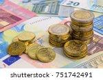 euro money stacks and bills | Shutterstock . vector #751742491