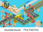 automatic factory with conveyor ... | Shutterstock .eps vector #751744741