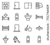 thin line icon set   wc  door ... | Shutterstock .eps vector #751746409