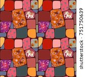 patchwork blanket for baby with ... | Shutterstock . vector #751750639