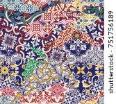 azulejos tiles patchwork... | Shutterstock .eps vector #751756189
