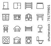thin line icon set   door  plan ... | Shutterstock .eps vector #751759801