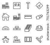 thin line icon set   store ... | Shutterstock .eps vector #751763299