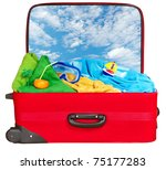 travel red suitcase. packed for ... | Shutterstock . vector #75177283