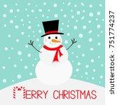 merry christmas. snowman ... | Shutterstock .eps vector #751774237