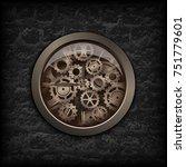 illustration. metal clock gear... | Shutterstock . vector #751779601