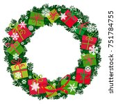 christmas wreath with gift...   Shutterstock .eps vector #751784755