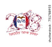 2018 Happy New Year Iowa US State  grunge vector template for greeting card, calendars 2018, seasonal flyers, christmas invitations and other.