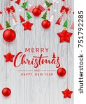 merry christmas beautiful flyer.... | Shutterstock .eps vector #751792285