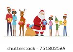 santa with compaions... | Shutterstock .eps vector #751802569