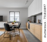 modern apartment with open wood ... | Shutterstock . vector #751810897