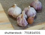 garlic. garlic cloves and... | Shutterstock . vector #751816531