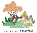 the wolf and the lamb. aesop... | Shutterstock .eps vector #751817761