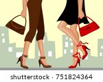 ladies with bags and shoes... | Shutterstock .eps vector #751824364