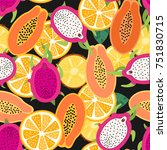 seamless pattern with papaya ... | Shutterstock .eps vector #751830715