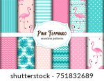 Stock vector cute set of pink flamingo tropical vibes seamless patterns vector illustration 751832689