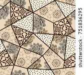 hand drawn seamless patchwork... | Shutterstock .eps vector #751836295