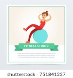 young woman exercising on a... | Shutterstock .eps vector #751841227