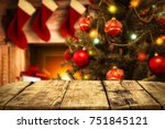 a wooden table with space for... | Shutterstock . vector #751845121