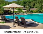 recreation area with loungers... | Shutterstock . vector #751845241