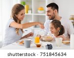 family  eating and people... | Shutterstock . vector #751845634