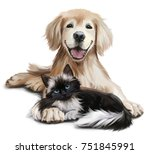 Stock photo a dog and a cat watercolor painting 751845991