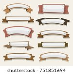 cartoon wood banners and... | Shutterstock .eps vector #751851694