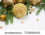 gold christmas decoration with... | Shutterstock . vector #751856431