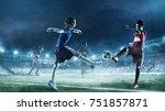 children play soccer. mixed...   Shutterstock . vector #751857871