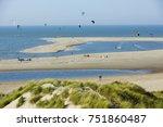 kite surfing along the dutch...   Shutterstock . vector #751860487