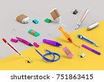 3d rendering of paint and write ... | Shutterstock . vector #751863415