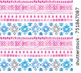 seamless watercolor ethnic... | Shutterstock . vector #751867087